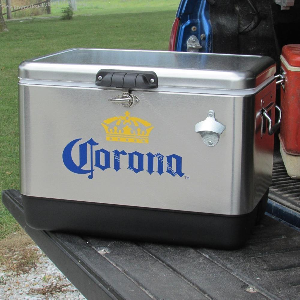 corona stainless steel beer cooler 54 quart w opener coleman made in china 1839323638. Black Bedroom Furniture Sets. Home Design Ideas