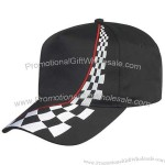 Cotton twill five panel racing cap with fused buckram backing