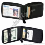 Cowhide Nappa Leather Zippered Wallet - Black