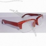 Crafted Half -Rim Optical Frame in Original Colors, Made of Bamboo