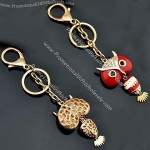 Creative Gift Alloy Gold-Plated Rose Rhinestone Owl Keychain For Women