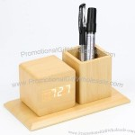 Creative Mute Desk Wooden LED Pen Holder Alarm Clock