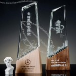 Creative wooden Crystal trophy with Carving Logo