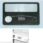 Credit card size mini magnifier with LED light.