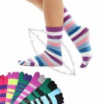 Crew Length Funny Feet Women's Striped Toe Socks Size 9-11