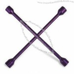 Cross Rim Wrench, Made of 40CRV and 45 Carbon Steel, Fully Polished, Anodized Color