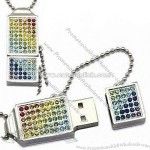 Crystal Diamond USB Memory Stick Necklaces