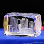 Crystal Paperweight with 3D model of building