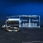 Crystal Rectangle Keychain (White-Lighted)