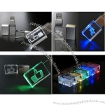 Crystal USB Flash Drive Memory Stick with LED Light Logo