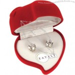 Cubic Zirconia Earrings W/ Heart Case