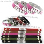 Custom Engraved Inspirational Message Genuine Leather Snap Bracelet