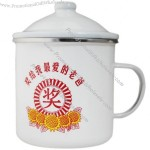 Customized White Enamel Mug with Lid