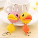 Cute Duck Keychain With Metal And Plastic