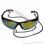 Dark Mirrored Tint Safety Glasses With Cord