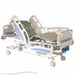 Deluxe 3-crank Hospital Bed, Made of PP Bed Board, Four IV Rod