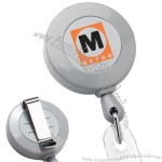 Deluxe Round Retractable Badge Holder W/ Slide On Clip & Cord