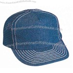Denim golf style cap with mesh back and firm front panel.