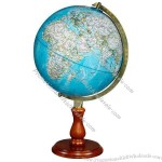 Desktop globe has antique brass-plated die-cast meridian & hardwood base.