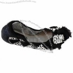 Diamonds Ballet Leather Shoe for Ladies, Pointed Toe Foldable Flat Heel with Bow, Comfortable Insole