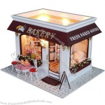 DIY Wooden Doll House with Light and Furniture