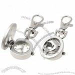 Dolphin Design Portable Key Chain Keychain Pocket Watch Silver