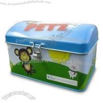 Dome Lid Tin Box with Cute Lock