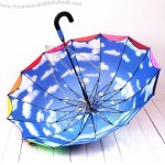 Double Layer Blue sky and white clouds Rainbow Umbrella