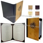 Double Solid or Four View Wood Menu Covers