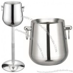 Double Stainless Steel Wine Ice Bucket Stand