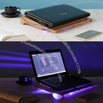 Dual Fan Laptop Cooling Bamboo Pad