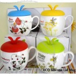 ECO Apple Design Ceramic Mug Cup With Silicone Lid