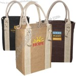 Eco-responsible Yachter's - Jute Fabric Tote With Cotton Rope Handles And Metal Grommets