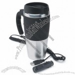 Electronic Heated Stainless Steel Travel Mug with USB or Car Lighter Plug