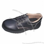 Embossed Leather Rubber Sole Safety Shoes, Genuine Leather, Anti-perforation