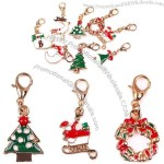 Enameled Christmas Theme Dangles Metal Keychain