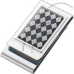 Epoxy argyle patterned (checkered) metal chrome plated 2-sided money clip.