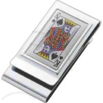 Epoxy king of spades metal chrome plated 2-sided money clip.