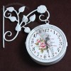 Europe Garden city Style Iron Wall Clock Table Clock With Double Face