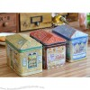 European Countryside Biscuit Tin Canisters Food Storage Box Roof Shapes
