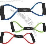 Exercise resistance bands with foam grips.