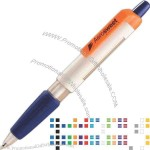 Extra large, rectangular 2 window message barrel pen with latex free soft grip.