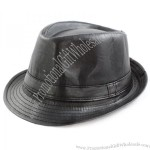 Faddism Men's Black Faux-leather Fedora Hat