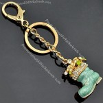 Fashion Cute Shoes Pattern Gold-Plated Alloy Keychain With China A Stone And Enamel