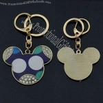 Fashion Mickey Head Keychains With Leather And Rhinestone