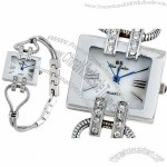 Fashion Stainless Steel Chain Square Quartz Wrist Watch