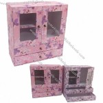 Fashionable Cardboard Trinket Box with PVC and Paper Material