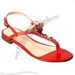 Fashionable Summer Sandals, Made Of Plastic And Glass Stone