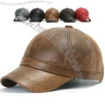Faux Leather Pre-curved Baseball Cap with Adjustable Strap Trucker Hat