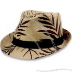 Fedora hat with palm leaf print.